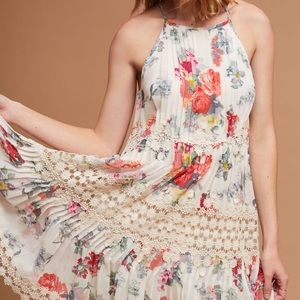 Anthropologie Kalila Floral Pleated Dress Size S